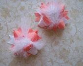 Hair Ribbon, Custom Baby Hairbow, Ribbon Hair Clip, Baby Hair Bow Clip, Coral Hair Bow, Pigtail Bows