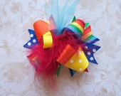 Hair Bow---MINI Funky Fun Over the Top Bow----Rainbow Brights---SOOOO Cute