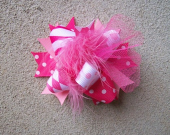 Hair Bow---MINI Funky Fun Over the Top Bow---Shades of Pink---PERFECT BOW---