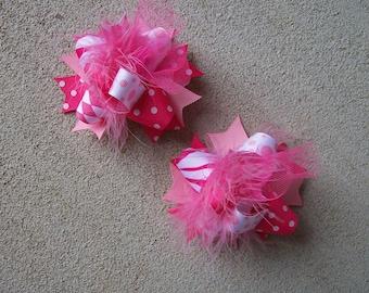 Pigtail Hair Bows, Colorful Hair Ribbon, Custom Baby Hairbow, Ribbon Hair Clip, Baby Hair Bow Clip, Pink Bow