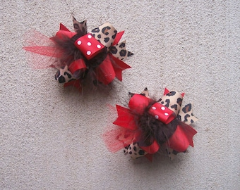 Hair Bows Set of 2---Mini Funky Fun Over the Top Bows---Red and Cheetah Print---