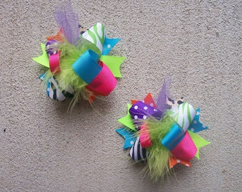 Hair Bows Set 2---MINI Funky Fun Over the Top Bows---Funky Cheetah Rock Star---Lime, PInk, Purple, Turquoise, Cheetah and Zebra Print