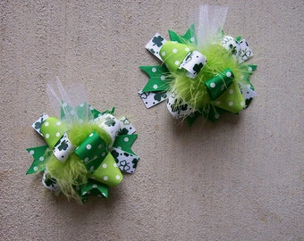 MINI Funky Fun Over the Top Bows---St. Patricks Day---Greens and White with Clover Ribbon