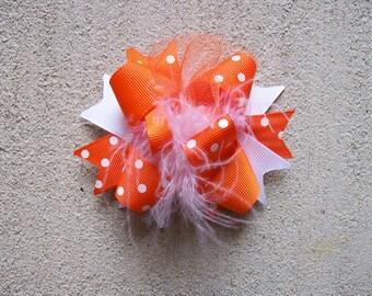 Orange Hair Bow, Colorful Hair Ribbon, Custom Baby Hairbow, Ribbon Hair Clip, Baby Hair Bow Clip, orange Bow