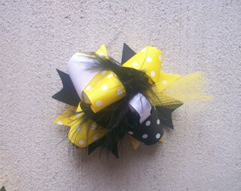 Hair Bow---MINI Funky Fun Over the Top Bow---Yellow and Black---Bumble Bee Theme