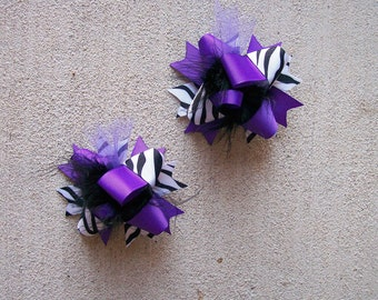 Hair Bows Set of 2---Mini Funky Fun Over the Top Bows---Purple, Black and Zebra Print---