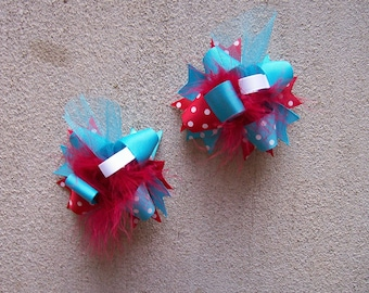Thing 1 Thing 2,  Cat in the Hat,  Hair Bows Set of 2,  Mini Funky Fun Over the Top Bows,  Thing 1 Thing 2,