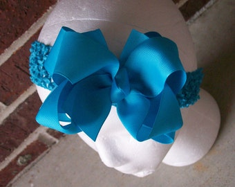 Hair Bow---Boutique Double Layer Bow----Turquoise---Perfect for SPRING