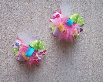 Easter Hair Bow, Easter bows, easter hairbows, easter pigtail bows, over the top easter bows