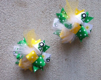 Tractor Cutie--Hair Bows Set of 2---Mini Funky Fun Over the Top Bows---Kelly Green, Yellow and Tractor Print Ribbon---