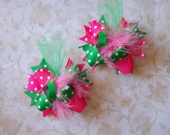 Hair Bows Set of 2---Mini Funky Fun Over the Top Bows---Kelly Green and Hot Pink---Perfect for Spring and Summer