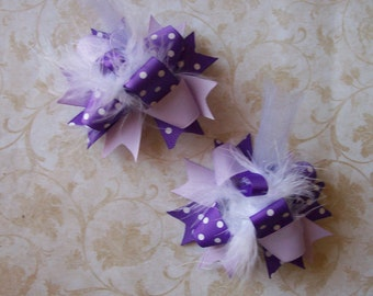 Hair Bows Set of 2---Mini Funky Fun Over the Top Bows---Shades of Purple---Perfect for Spring and Summer