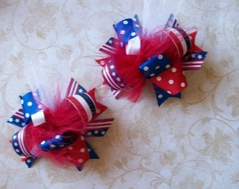 4th of July--Hair Bows Set of 2---Mini Funky Fun Over the Top Bows