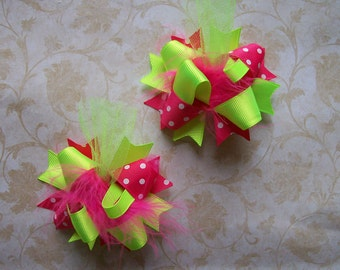 Hair Bows for Girls---Mini Funky Fun Over the Top Bows---Neon Green and Hot pink--- Set of 2---Pigtail bows