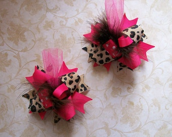 Hair Bows Set of 2---Mini Funky Fun Over the Top Bows---Pink and Cheetah Print
