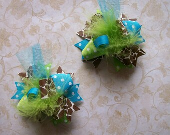 M2M Mud Pie Wild Child Giraffe--Hair Bows Set of 2---Mini Funky Fun Over the Top Bows---Giraffe Print---Lime---Turquoise