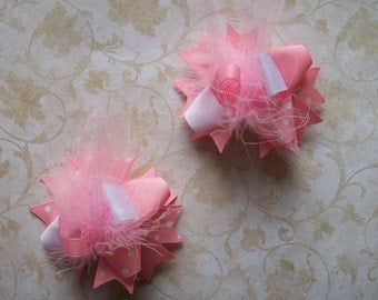 Hair Bows Set of 2---Mini Funky Fun Over the Top Bows--Light Pink and White---Great Basic Set