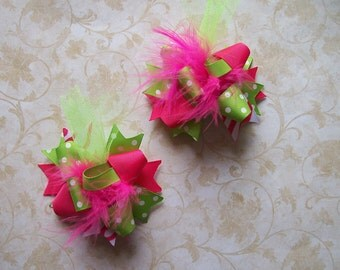 Hair Bows Set of 2---Mini Funky Fun Over the Top Bows---Pink and Lime---Great for Spring and Summer
