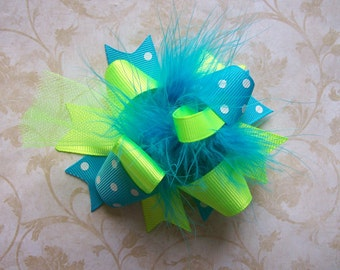 NEON--Hair Bow---MINI Funky Fun Over the Top Bow---Neon Lime and Turquoise