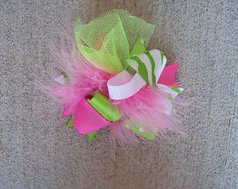 M2M Mud Pie Little Sprout---Hair Bow---MINI Funky Fun Over the Top Bow---Lime and Pink---Great for Summer