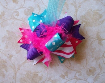 Hair bow, mini bows, pink hair bow, purple hair bow, pigtail bow, newborn hair bows, headbands, over the top bow