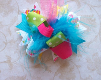 Hair Bow---MINI Funky Fun Over the Top Bow----Flip Flop Princess---Great for Spring/Summer