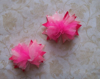 NEW Item---ULTRA MINI Over the Top Bows---Set of 2----Shades of Pink----3 inches