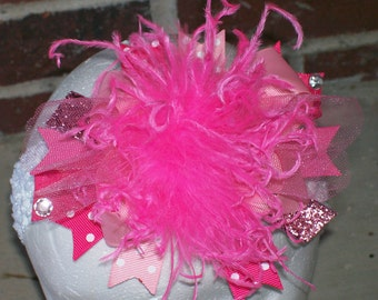 Over the Top Hair Bow with Ostrich Puff Center---Shades of Pink---A MUST HAVE