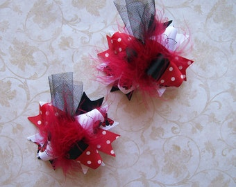 Hair Bows Set of 2---Mini Funky Fun Over the Top Bows---Ladybug Cutie---