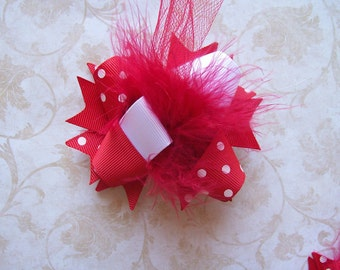 Hair Bow---MINI Funky Fun Over the Top Bow---Basic Red--