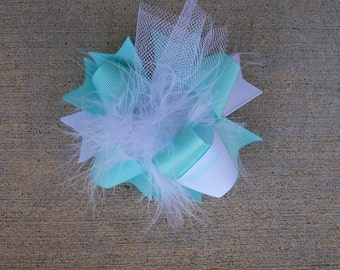 Aqua Hair Bow, Colorful Hair Ribbon, Custom Baby Hairbow, Ribbon Hair Clip, Baby Hair Bow Clip, Aqua and White Bow