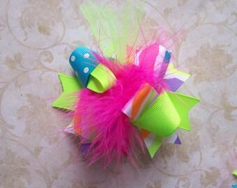 NEON--Hair Bow---MINI Funky Fun Over the Top Bow---Neon Zebra