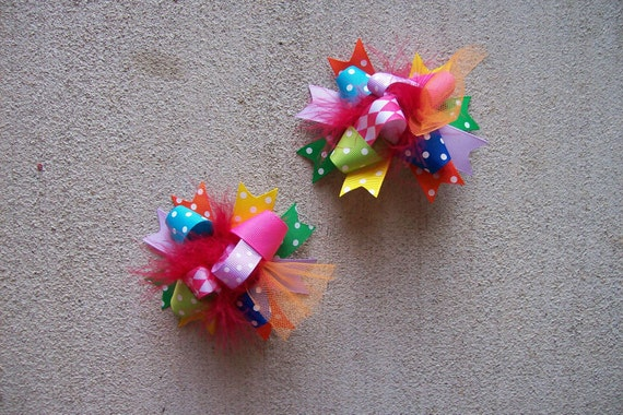 Hair Bows Set of 2---Mini Funky Fun Over the Top Bows---Rainbow Brights---All Colors---Perfect Bow