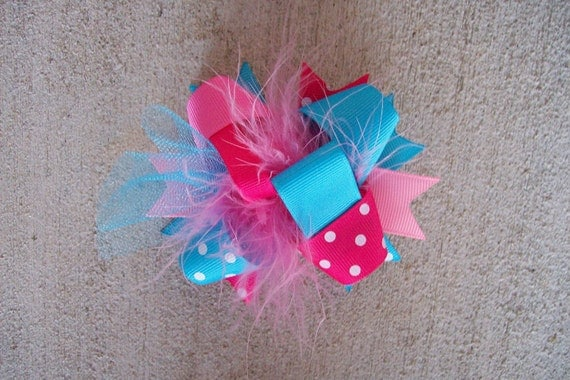 Hair Bow---MINI Funky Fun Over the Top Bow---Cotton Candy---Pink and Turquoise