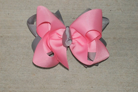 Hair Bow---Boutique Double Layer Bow---Light Pink and Grey---