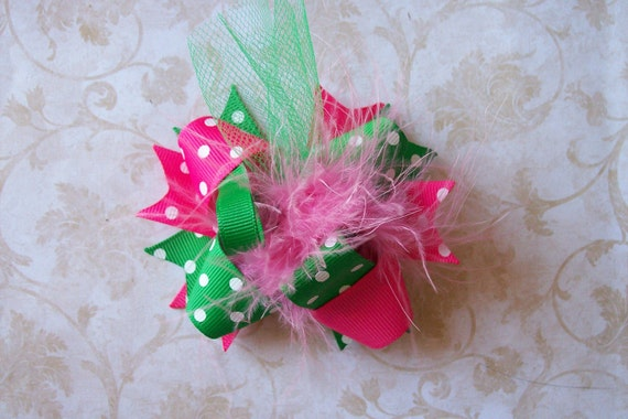 Hair Bow, Colorful Hair Ribbon, Custom Baby Hairbow, Ribbon Hair Clip, Baby Hair Bow Clip, Pink and Green Bow