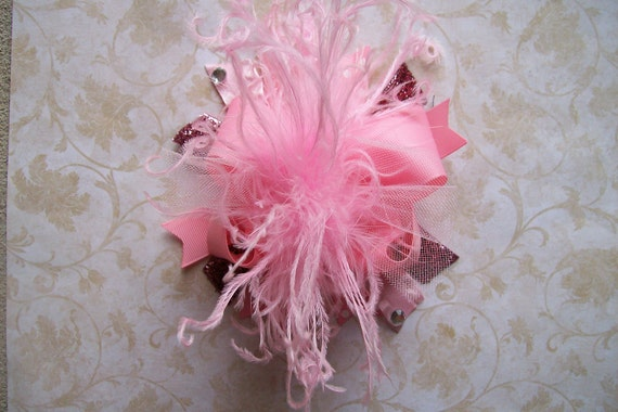 Over the Top Hair Bow with Ostrich Puff Center---Pretty Pink Princess---Light Pink---A MUST HAVE