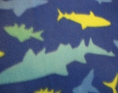Sharks.....Deep in the Ocean Swimming on Blue with Green Handmade Fleece