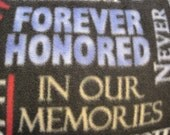 Forever Honored, In Our Memories, 9/11 with Red Handmade Blanket