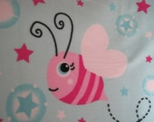 Bumble Bees on Blue with Pink Blanket - Ready to Ship Now