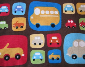 Cars Parked in Squares with Gold Handmade Fleece Blanket - Ready to Ship Now