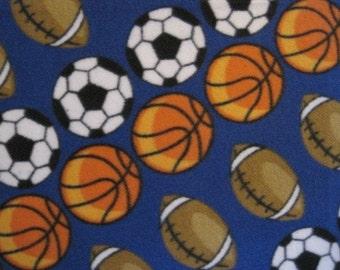 Handmade Fleece Blanket of Basketballs, Footballs, Soccer Balls on Blue - Ready to Ship Now