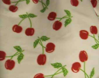 Fleece Blanket Handmade - Red Cherries on White with Red - Ready to Ship Now