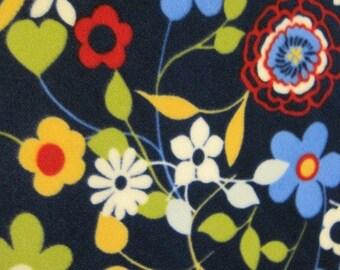 Flowers on Navy Blue with Gold  Handmade Fleece Blanket