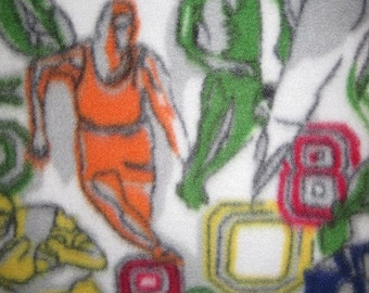Fleece Blanket - Football Players on White with Red - Ready to Ship Now