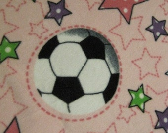 Soccer Balls on Pink with Black Fleece Blanket