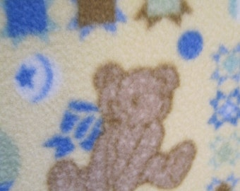 Fleece Blanket - Teddy Bears on Yellow with Blue - Ready to Ship Now