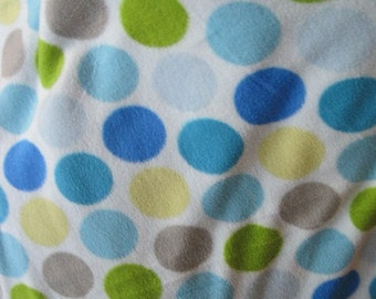 Handmade 2 Layer Fleece Blanket - Circles in Blues, Greens and Gray on Blue
