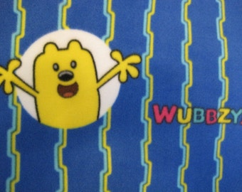 Wubbzy on Blue with Aqua Handmade Fleece Blanket - Ready to Ship Now