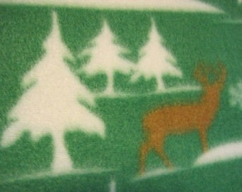 Deers in Brown and Trees in White on Green with Brown Blanket
